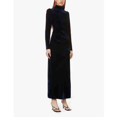 Moonlight high-neck stretch-velvet midi dress
