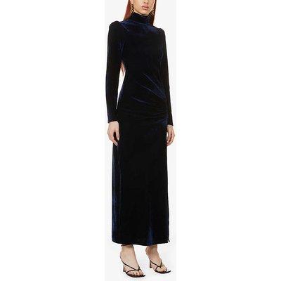 Moonlight high-neck stretch-velvet midi dress
