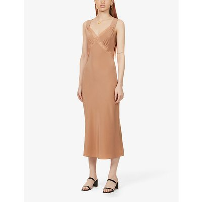 Provence cut-out silk-satin midi dress