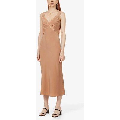 Provence cut-out silk-satin midi dress