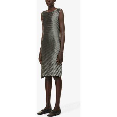 Pleated sleeveless woven midi dress