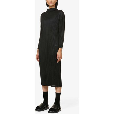 Monthly pleated high-neck woven midi dress