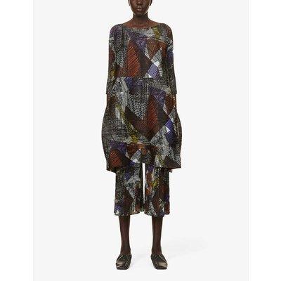 Andante graphic-print pleated woven midi dress