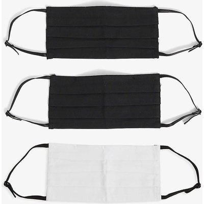 Pack of three pleated cotton face coverings