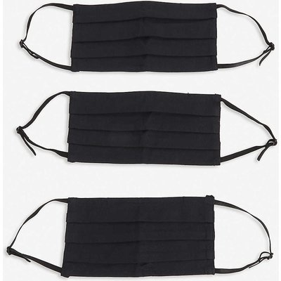 Bags Of Ethics Ladies Black Pleated Cotton Pack 3 Face Coverings