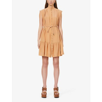 Button-down sleeveless silk-crepe de chine midi dress