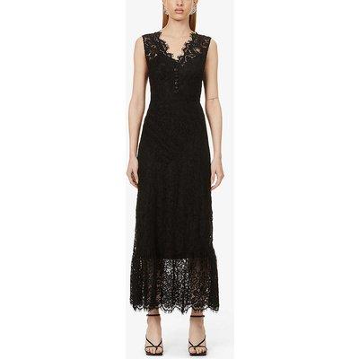 Sleeveless scalloped-trim lace midi dress