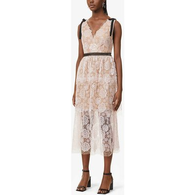 Tiered floral lace midi dress