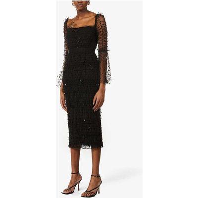 Polka-dot tulle-overlay stretch-woven midi dress