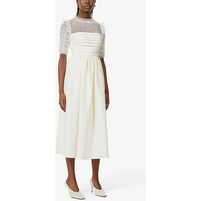 Pleated lace and woven midi dress