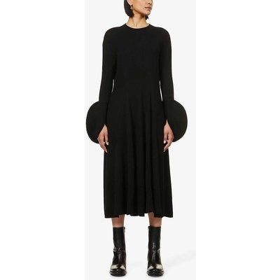 Circle-cuff wool-blend midi dress