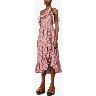 Poppy striped one-shoulder cotton midi dress