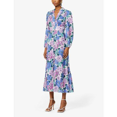 Poppy floral-print linen midi dress