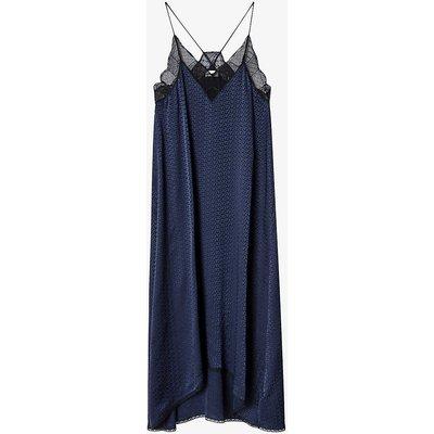 Risty lace-trimmed silk midi dress