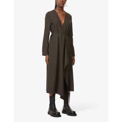 Tie-belt stretch-organic wool midi dress