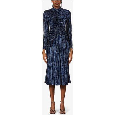 Asher metallic high-neck velvet midi dress