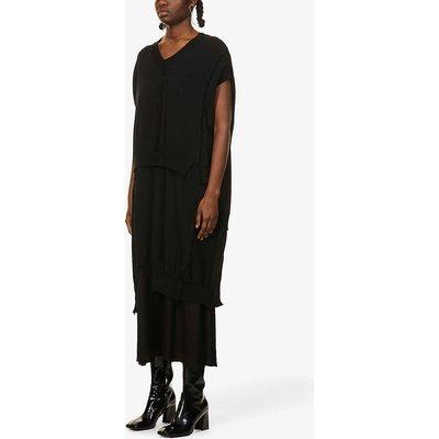 Layered wool-cotton blend midi dress