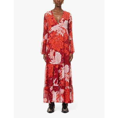 Moroccan patchwork floral-print chiffon maxi dress