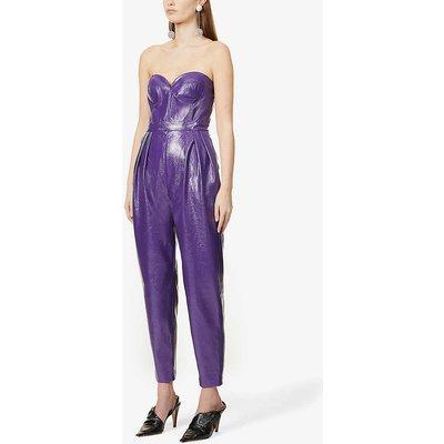 Lana strapless faux-leather jumpsuit