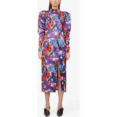Theresa graphic floral-print stretch-satin midi dress