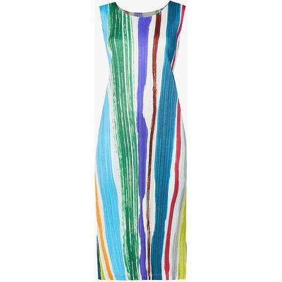 Leaf striped sleeveless woven midi dress