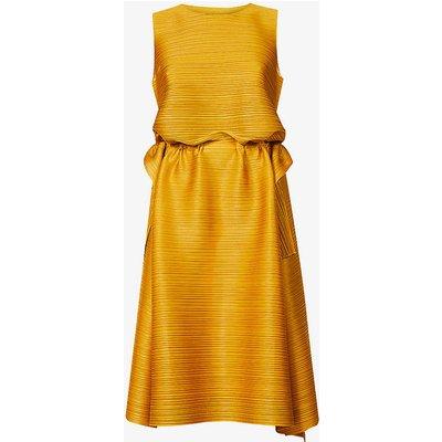 Dive boat-neck woven midi dress