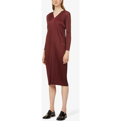 Monthly V-neck pleated woven midi dress