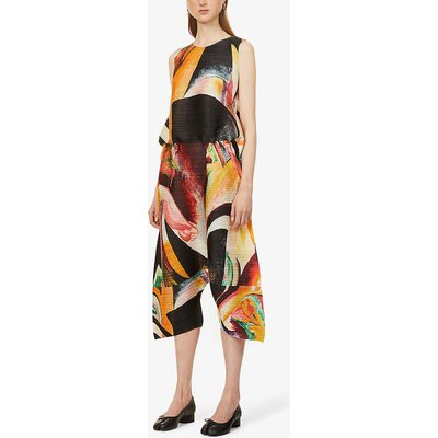 Musa graphic-print pleated woven jumpsuit