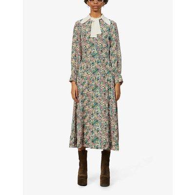 Floral-print silk-crepe midi dress