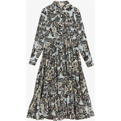 Biscitt paisley-print silk midi dress