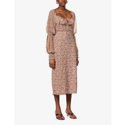 Aglow floral-print woven midi dress