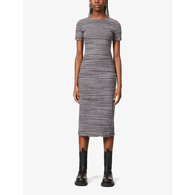 Perry lettuce-hem stretch-woven midi dress