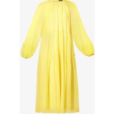 Puff-sleeve crepe midi dress