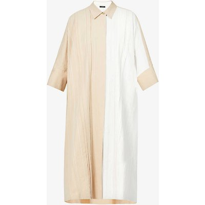 Dany pleated cotton and linen-blend midi dress