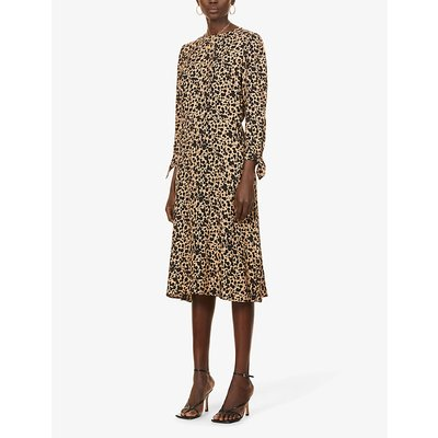 Port spot-print woven midi dress