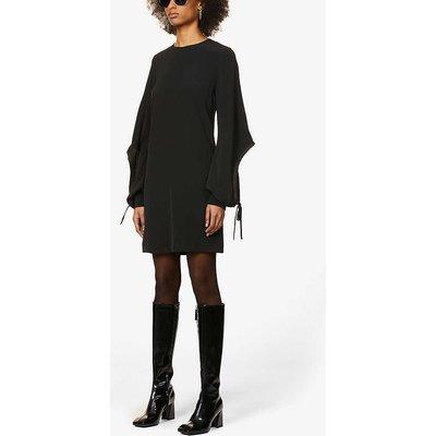 Drawstring-sleeve crepe midi dress