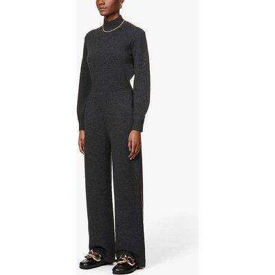Funnel-neck wool-blend jumpsuit
