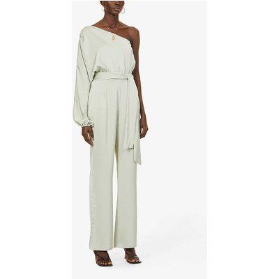 Imogen one-shoulder satin-crepe jumpsuit