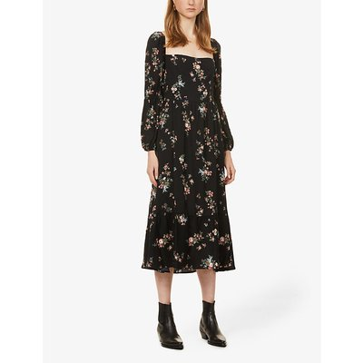 Mica floral-print crepe midi dress