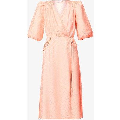 Polka-dot chain-embellished silk midi wrap dress