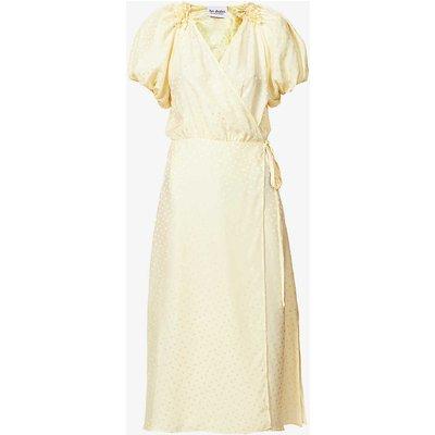 Rouches polka-dot silk midi wrap dress