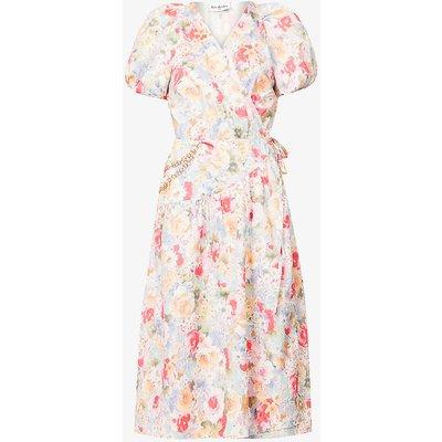 Floral-print chain-embellished cotton-poplin midi dress