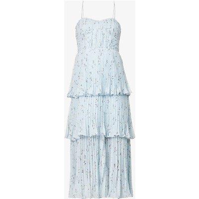 Floral-print pleated chiffon midi dress