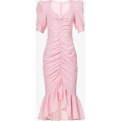 Polka dot-print ruched silk maxi dress