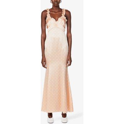 Polka-dot silk maxi dress