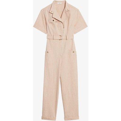 Delphie belted cotton-blend jumpsuit