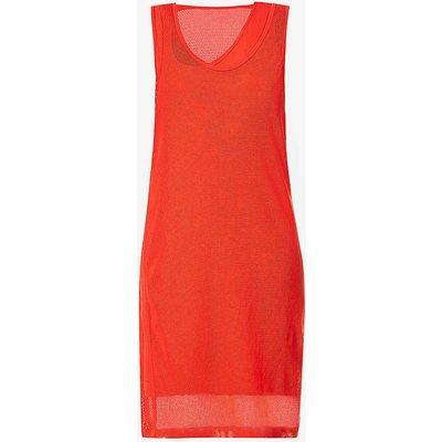 Mesh sleeveless cotton-jersey midi dress