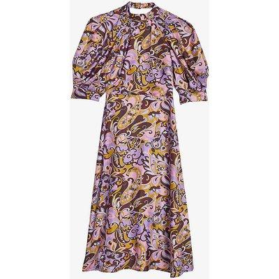 Hariat graphic-print silk midi dress