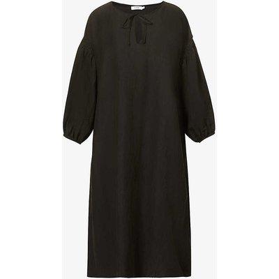 Aurelien silk and linen-blend midi dress