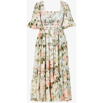 Rose Garden floral-print tulle midi dress